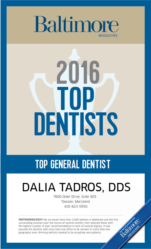 Baltimore Magazine - Dr. Dalia Tadros, Top Dentists 2016